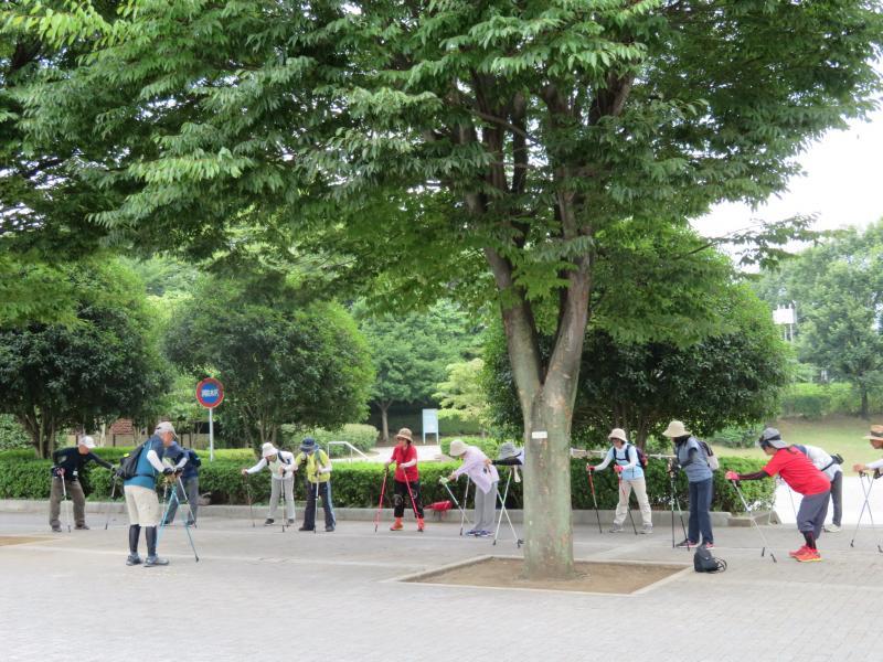 体育館前の木陰でウォーミングアップ