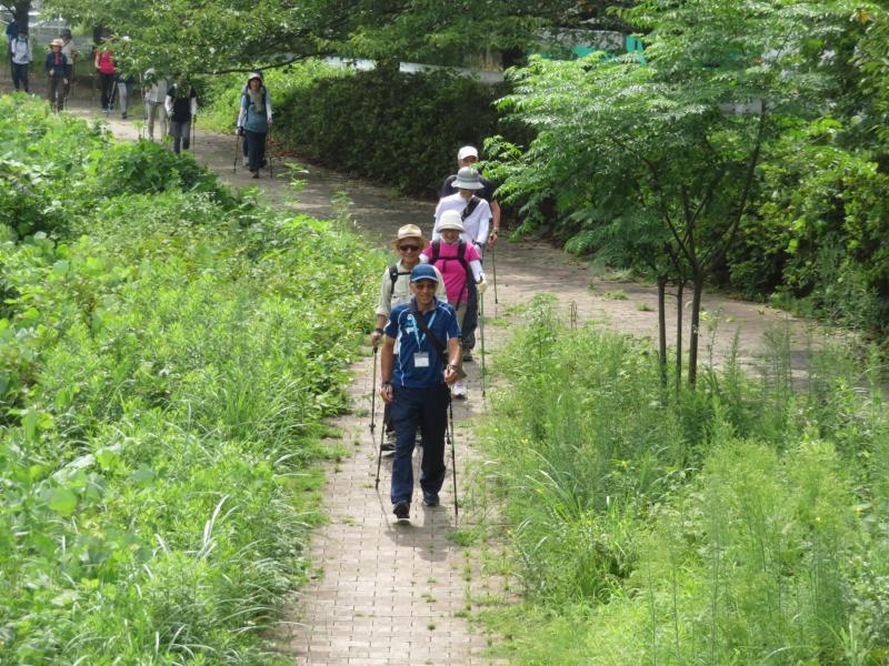 古墳公園に向かう先頭グループ