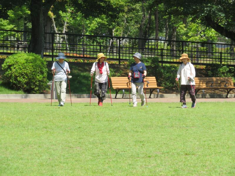 一列になってピクニック広場へ