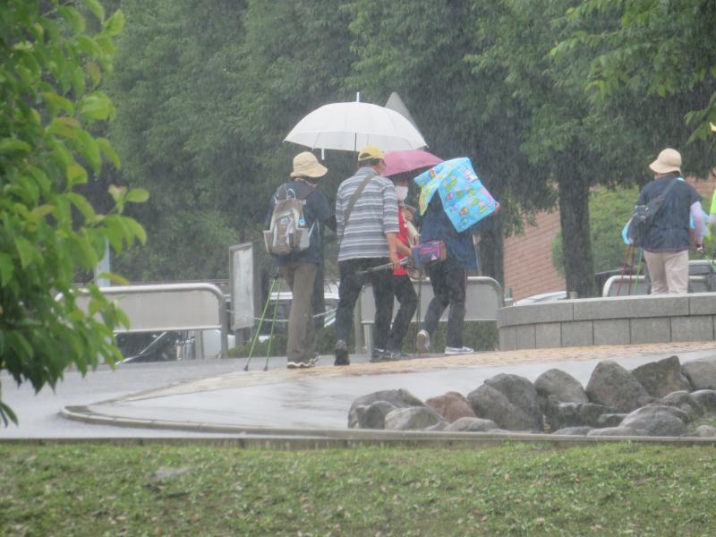 仲良く相合傘?